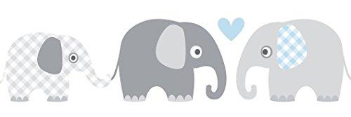 lovely label Bordüre selbstklebend ELEFANTEN GRAU/BLAU - Wandbordüre Kinderzimmer / Babyzimmer mit Elefanten in versch. Farben - Wandtattoo Schlafzimmer Mädchen & Junge, Wanddeko Baby / Kinder