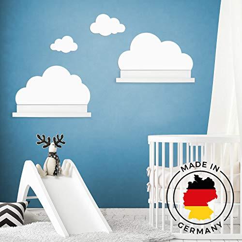 Wandtattoo Wolken in weiß für IKEA Regalbrett Ribba/Mosslanda 55 cm Bilderleiste für Babyzimmer Kinderzimmer - Aufkleber für Wand und Tapete