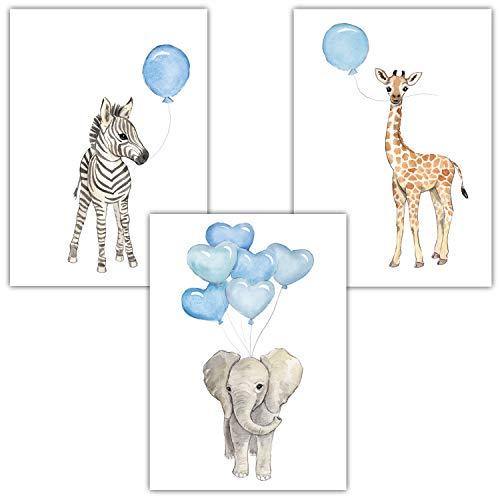Frechdax 3er Set Kinderzimmer Wandbilder | Kinderzimmer Junge Dekoration | Babyzimmer Junge (3er Set Blau, Elefant, Giraffe, Zebra)