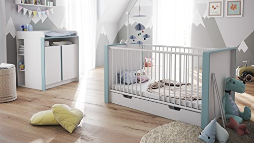 Babyzimmer Kinderzimmer Komplett Set Nandini Set 2 in Weiß matt mit Blenden in Denim