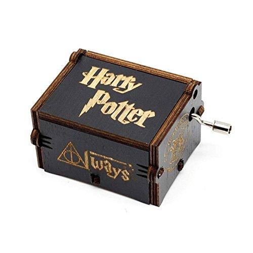 Funmo - Premier Spieluhr,Black Harry Potter Gravur aus Holz Dekorative Box Reine Hand-klassischen Harry Pottre Musik-Box Hand-hölzerne Spieluhr kreative Holz Handwerk