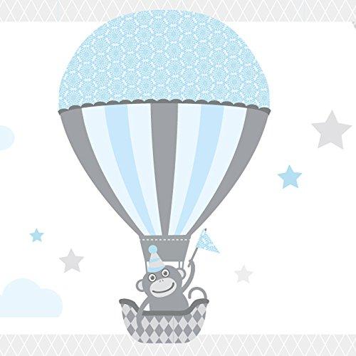Anna Wand Bordüre selbstklebend HOT AIR Balloons - Wandbordüre Kinderzimmer/Babyzimmer mit Tieren in Heißluftballons in Hell-Blau/Grau – Wandtattoo Schlafzimmer Mädchen & Junge, Wanddeko Baby/Kinder