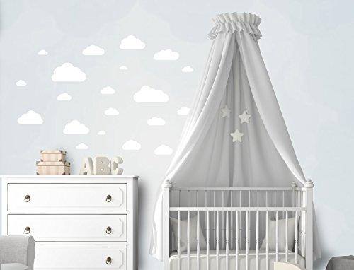 20 Teile Wolken Wandtattoo Kinderzimmer Set - Rauhfaser Wandsticker, Pastell Farben, Baby Tapete Sticker zum Kleben, Wandaufkleber Sleepy Eye Wanddeko - Wandfolie, Kleinkinder, Jungen, Mädchen in Weiß