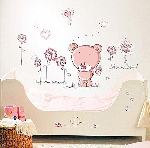 WandSticker4U- Wandtattoo BABY BÄR in rosa II | Wandbild: 100x75cm | süß Bärchen Teddy Blumen Herzchen | Wandaufkleber Wanddeko fürs Babyzimmer Kinderzimmer Kinder Mädchen
