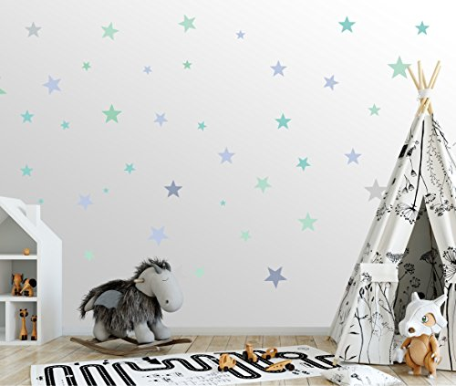 50 Sterne Wandtattoo fürs Kinderzimmer - Wandsticker Set - Pastell Farben, Baby Sternenhimmel zum Kleben Wandaufkleber Sticker Wanddeko - Wandfolie Kleinkinder, Erstausstattung auf Rauhfaser Türkis