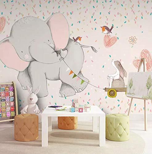 Tapete 3D Vlies Seidentuch Fototapete Niedliche Kinder Mädchen Schlafzimmer Babyzimmer Nahtlose Cartoon Kindergarten Elefant, 250 * 175