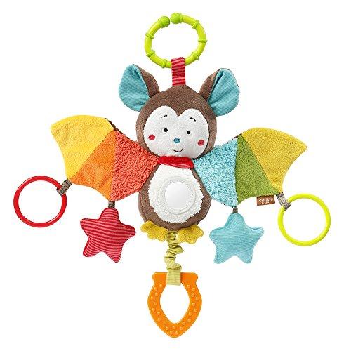 Fehn 067712 Activity-Spieltier Fledermaus - Motorikspielzeug zum Aufhängen mit Spiegel & Ringen zum Beißen, Greifen und Geräusche erzeugen - Für Babys und Kleinkinder ab 0+ Monaten