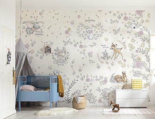 Komar - Disney - Fototapete BEST OF FRIENDS - 368 x 254 cm - Tapete, Wand Dekoration, Mädchen, Babyzimmer, Kinderzimmer, Bambi, Dumbo, Marie, Baby - 8-4023
