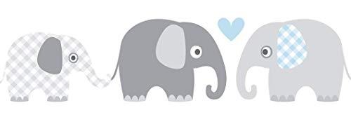 lovely label Bordüre selbstklebend Elefanten GRAU/BLAU - Wandbordüre Kinderzimmer/Babyzimmer mit Elefanten in versch. Farben - Wandtattoo Schlafzimmer Mädchen & Junge, Wanddeko Baby/Kinder