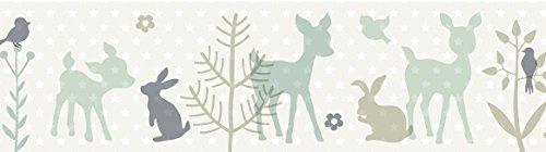 lovely label Bordüre selbstklebend HÄSCHEN & REHE Mint/GRAU/BEIGE - Wandbordüre Kinderzimmer/Babyzimmer mit Hase & REH - Wandtattoo Schlafzimmer Mädchen & Junge – Wanddeko Baby/Kinder