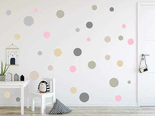 timalo® 120 Stück Wandtattoo Kinderzimmer Kreise Pastell Wandsticker – Aufkleber Punkte | 73078-SET3-120