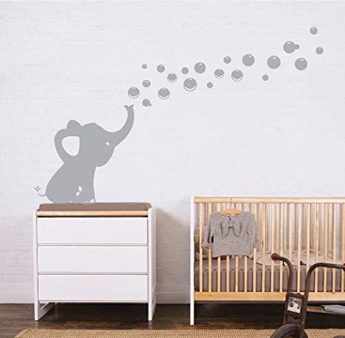 Sayala Wandtattoo 1 Elefanten Bubbles Wandsticker Wandaufkleber -Kinderzimmer Zoo Tiere Wandsticker- Wandbordüre Kinderzimmer/Babyzimmer mit Elefant (Grau)