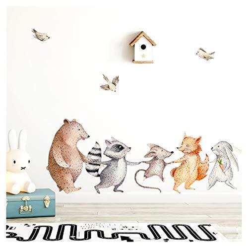 Little Deco Wandtattoo Waldtiere Hand in Hand I (BxH) 79 x 30 cm I Kinderzimmer Babyzimmer Aufkleber Sticker Wandaufkleber Wandsticker Klebeposter Stickers DL148
