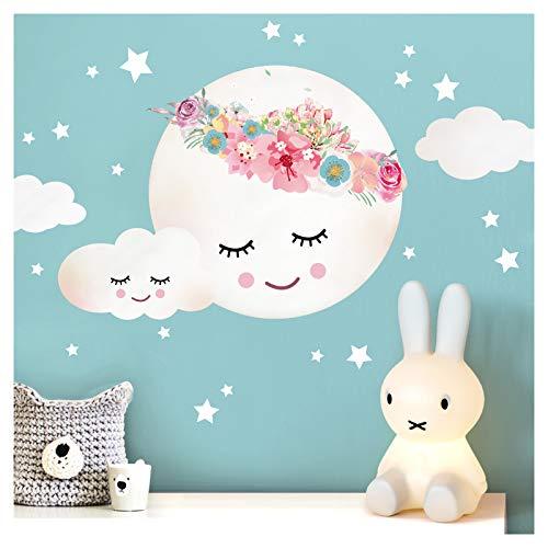 Little Deco Wandsticker Kinderzimmer Mädchen Mond Wolken Sterne Blumen I XL - 65 x 48 cm (BxH) I Wandtattoo Babyzimmer selbstklebend Wandaufkleber Baby Kinder DL264