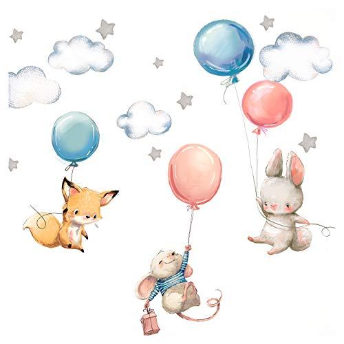 Little Deco Wandtattoo Babyzimmer Hase Fuchs und Maus I Wandbild M - 103 x 57 cm (BxH) I Luftballons Sterne Kinderbilder Junge Kinderzimmer Mädchen Aufkleber DL312