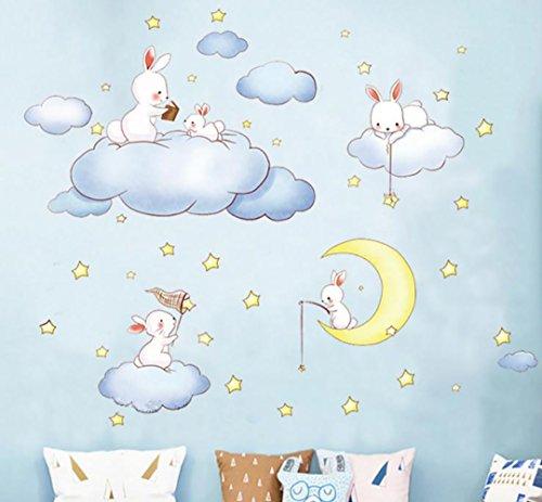 WandSticker4U- Wandtattoo Babyzimmer SCHÖNE TRÄUME I Wandbilder: 200x52 cm I Wandaufkleber Hase blau Wolken Mond Sterne Wandsticker Sweet Dreams I Deko für Kinderzimmer Baby Junge Mädchen XL