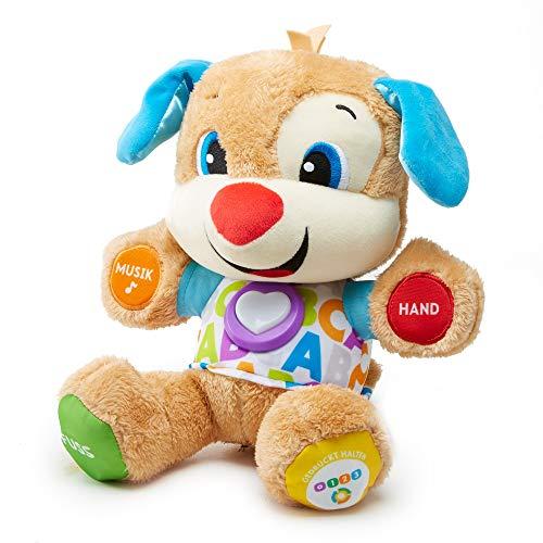 Fisher-Price FPM50 - Lernspaß Hündchen Baby Spielzeug und Plüschtier, Lernspielzeug mit Liedern und Sätzen, mitwachsende Spielstufen, Spielzeug ab 6 Monaten, deutschsprachig