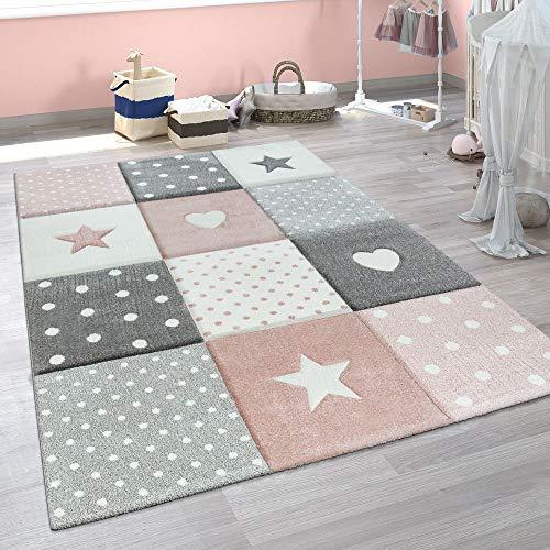 Paco Home Kinderteppich Kinderzimmer Punkte Herzen Sterne Pastell versch. Farben u. Größen, Grösse:140x200 cm, Farbe:Pink