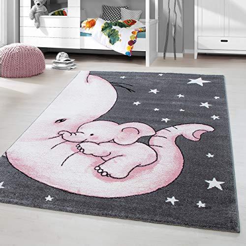 HomebyHome Kinderteppich Kurzflor Elephant Kinderzimmer Babyzimmer Grau Pink Meliert, Größe:160x230 cm